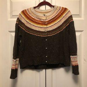 J. Jill Country Fair Isle Cardigan Sweater